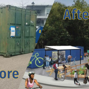 Big Blue Bike Barn before and after photo