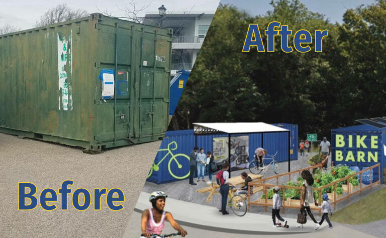 Big Blue Bike Barn before and after photo