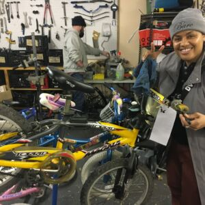 Allyson McCalla in the Bike Garage