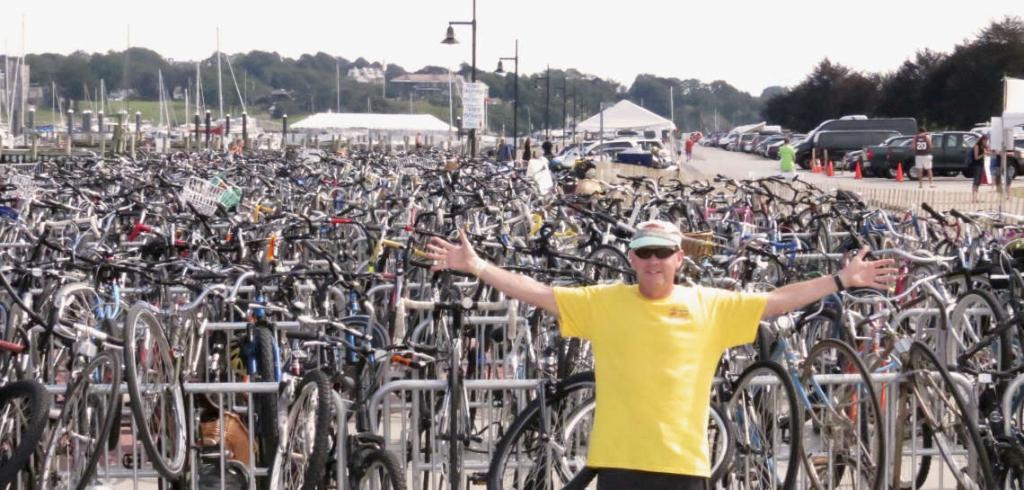 Lots of bikes at Newport Folk Fest