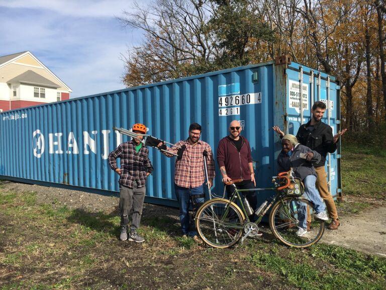 Crew at the Big Blue Bike Barn under construction