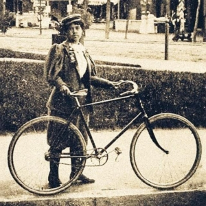 Kittie Knox with her bicycle