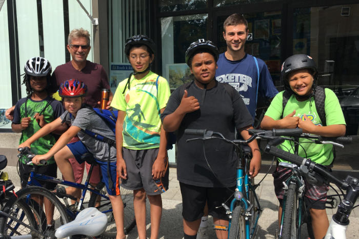 Group of kids at Bike Newport