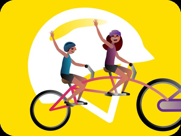 kids on a bike and big helmet illustration