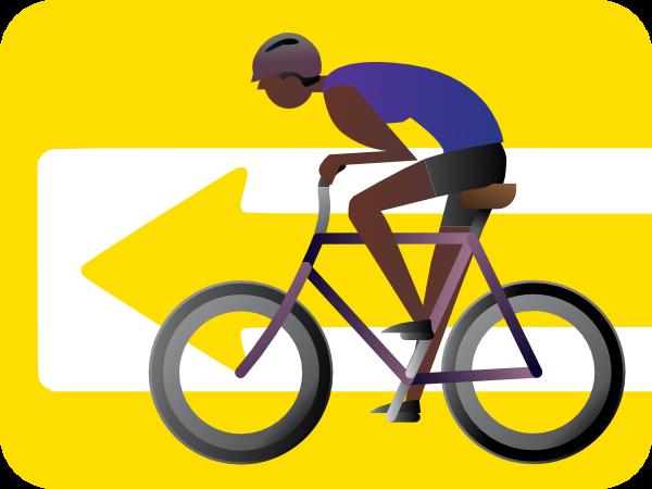 bike rider and wone-way sign illustration
