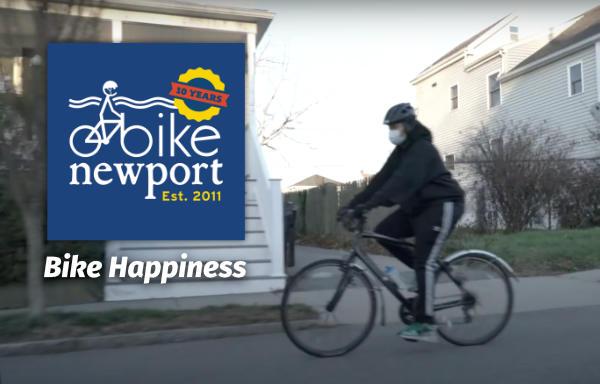 video capture of bike rider with Bike Newport logo